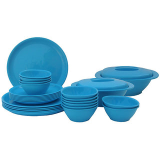Incrzima - 28 Pcs Round Dinner Set Turquoise Blue-1301TB