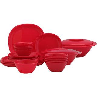 Incrzima - 28 Pcs Dinner Set Square Red - 1351R