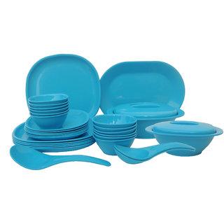 Incrzima - 32 Pcs Dinner Set Square Turquoise Blue - 1451TB