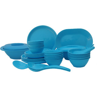 Incrzima - 44 Pcs Dinner Set Round Turquoise Blue - 1501TB