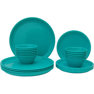 Incrzima - 24 Pcs Round Dinner Set -Turquoise Blue