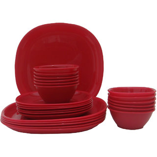 Incrzima - 24 Pcs Square Dinner Set - Red