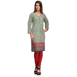 Prafful Green Cotton Blend Geometric Printed Straight Kurti (GS101231)