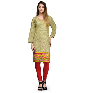 Prafful Green Cotton Blend Geometric Printed Straight Kurti (GS101232)