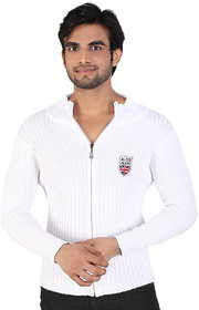 Alois Mens Full Sleeve 100 Cotton Ribbed ,Zipper Front Cardigan with Embroidery .