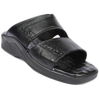Liberty MenS Black Casual Slip On Sandals (2076-03-BLACK)
