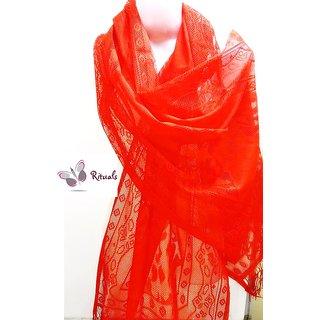 Fashion Stylish Net Stole-   Red