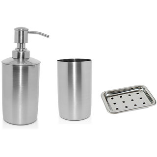 YASHIKA STAINLESS STEEL BATH SET OF 3 (TUMBLER LIQUID SOAP DISPENSER SOAP DISH)