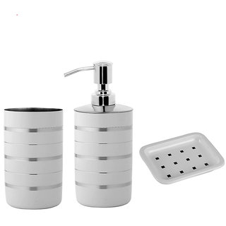 YASHIKA S.STEEL BATH SET OF 3 (TUMBLER LIQUID SOAP DISPENSER  SOAP DISH) IN WHITE MATT