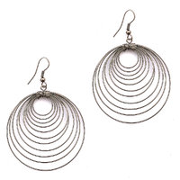 Sparkling Handcrafted Silver Wired Hoops Earring