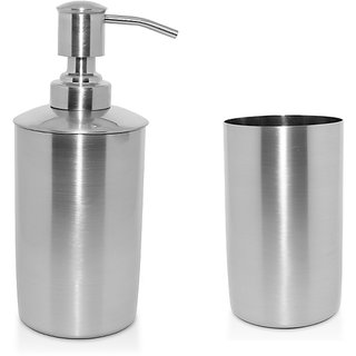 YASHIKA S.STEEL BATH SET OF 2 (TUMBLER  LIQUID SOAP DISPENSER)
