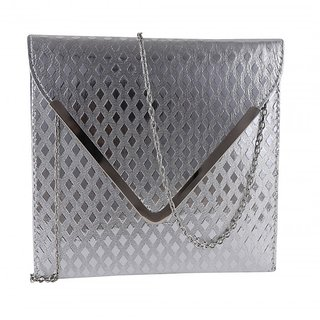 Daily Deals Online Envelope Clutch for Girls/ Women (Silver) (DDOENVCLT04)