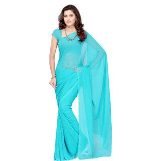 Plain Blue Colour Georgette Fabric Saree [With Blouse]