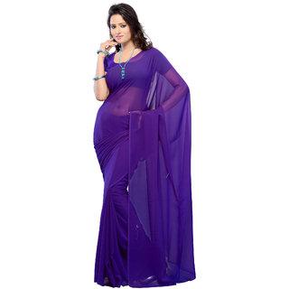 Plain Purple Colour Georgette Fabric Saree [With Blouse]