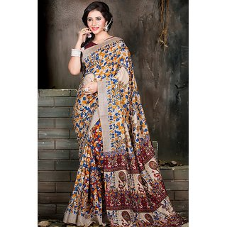 Saree Mall Multi Fancy Silk Printed Saree with Unstitched Blouse VND5003