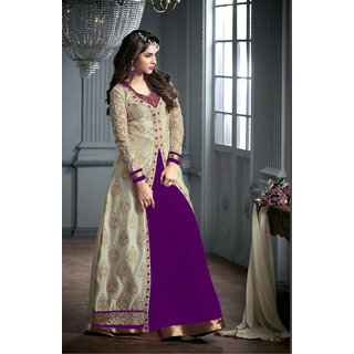 Thankar Purple And Cream Embroidered Georgette Anarkali Suit