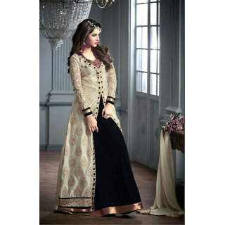 Thankar Black And Cream Embroidered Georgette Anarkali Suit