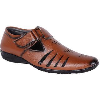 Shoeadda Mens Tan Velcro Sandals