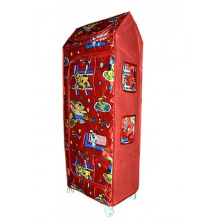 Plastic Folding Kids Almirah ( 5 Shelf) Red Color