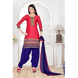 Sareemall Multicolor Cotton Embroidered Salwar Suit Dress Material