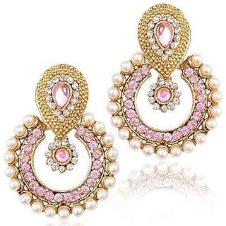 Radhe Krishna Collection Pink Metal Dangle  Drop Earring for Women