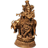 """Brass """"Krishna playing flute with Cow"""