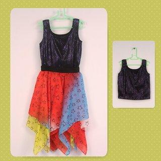 Star Print Handkerchief Skirt  Sequinned Top Set
