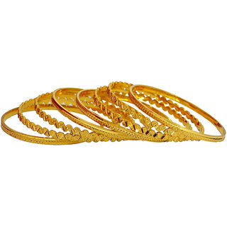 Pourni Set Of 8 Gold Plated Bangles
