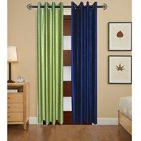 iLiv Plain Eyelet Window Curtains Set Of 2 5ft- 1green1blue5ft
