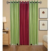 Iliv Soaber Curtains Set Of 3 -2Green1Maroon7Ft