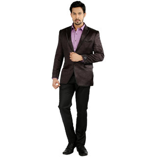 Oxemberg Full Sleeves Stripes Polyester Slim Fit Maroon Suit