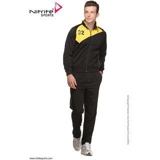 Nitrite Sportswear Black-Yellow  Tracksuit For Men