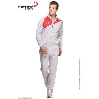 Nitrite Sportswear Ltgrey-Red  Tracksuit For Men