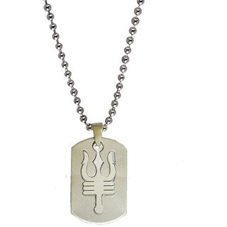 Men Style Shiv Trishul With Damaru Plated  Silver  Stainless Steel Sqaure Pendent For Men And Women