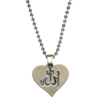 Men Style Stylish Heart Allah letters plated  Silver  Stainless Steel Heart Pendent For Men And Women