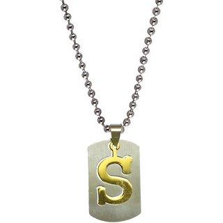 Men Style Alphabet letter S platedpendant  Silver  Stainless Steel Sqaure Pendent For Men And Women