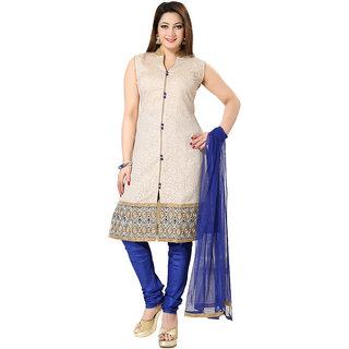 Indian Traditional Banarasi Silk Sleeveless/Half sleeves Size-L Salwar kameez suit V-Neck-Blue