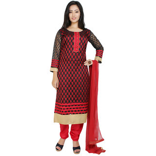 Indian Traditional Banarasi Silk Full Sleeves Size-L Salwar kameez suit Round Neck-Red