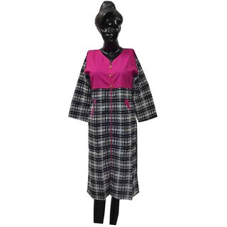 Rigvi BLACK WHITE KURTI WITH PINK NECK