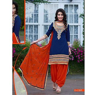 Grapsy Fashion + Embroidery + Cotton + Semi-stitch + salwar With duatta