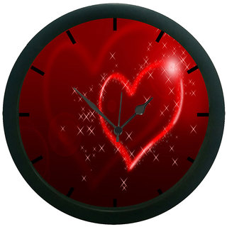 AE World Red Heart Wall Clock (With Glass)