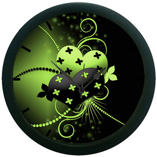 AE World Green Abstract Wall Clock (With Glass)