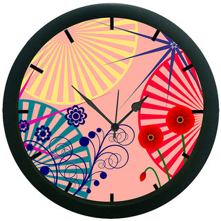 AE World Floral Abstract Pink 3D Wall Clock (With Glass)
