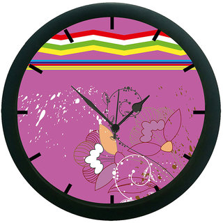 AE World Pink Floral Wall Clock (With Glass)