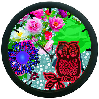 AE World Owl Floral 3D Wall Clock (With Glass)