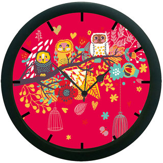 AE World Pink Owl Wall Clock (With Glass)