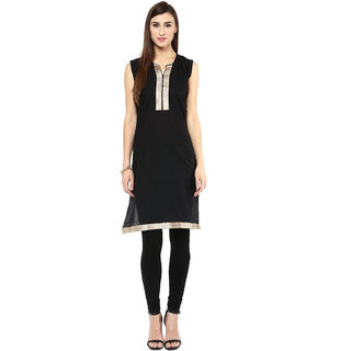 Drapes Black Plain Cotton Stitched Kurti