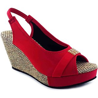 Plutos Women Synthetic Leather red color Wedges with  2.5 Heel Height