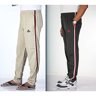 Mens Cotton Track Pant With Dual Colour Side Stripes Pack Of 2  Biscuit    Melange Black