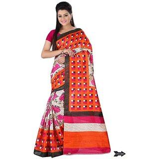 Svb Sarres Printed  Multicolor Bhagalpuri Sarees
